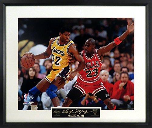 Magic Johnson vs. Michael Jordan 16x20 Photograph (SGA Signature Engraved Plate Series) Framed