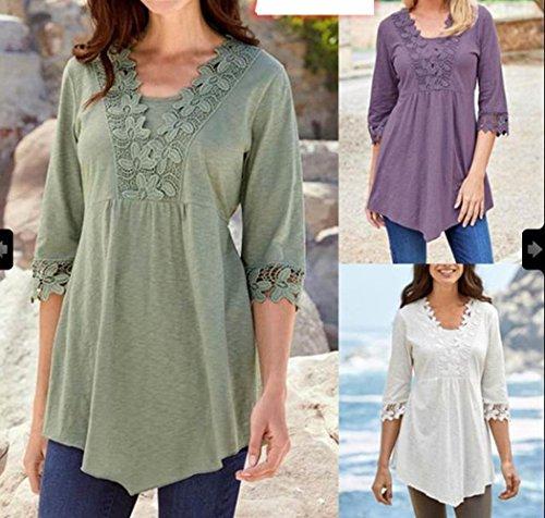 Shirts Automne et Blouses Dentelle Printemps Tunique T Violet Shirts Top Demi Haut Femme Elegante Manche Long Chemisiers pissure Fashion vSqpw5x1q