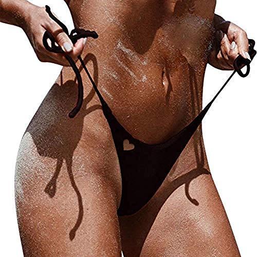 Alangbudu Women Love Cutout Swim Shorts Swimwear Brazilian Cheeky Bikini Bottom Side Tie Thong Bathing Swimsuit Black