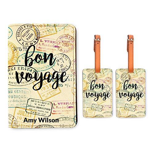 Personalized Passport Holder 2 Luggage Tag Matching Set - Bon Voyage