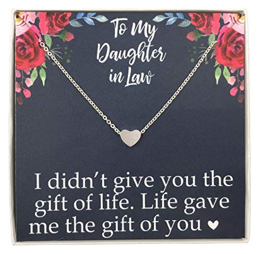 Emma Lou Stainless Steel Daughter in Law Necklace Future Daughter in Law Gifts from Mother in Law Silver Tiny Heart Necklace