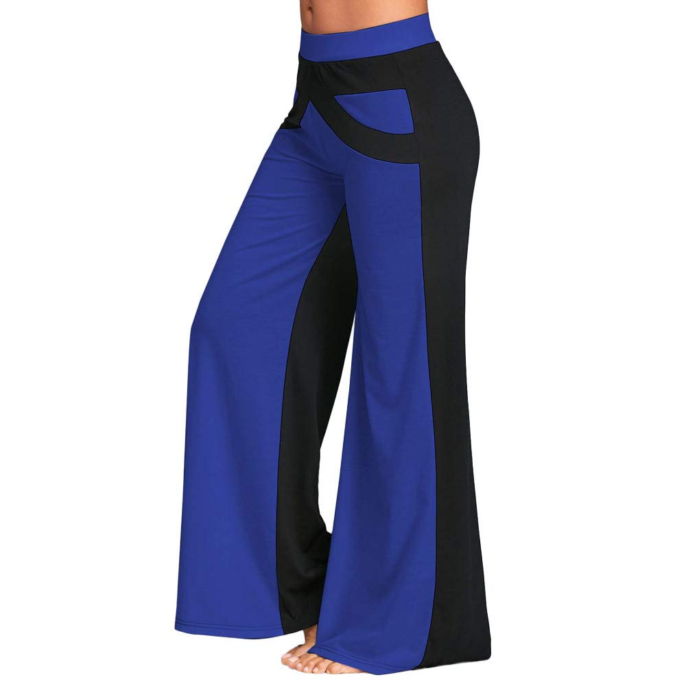 Kirbyates Pants Women's Fashion Yoga Patchwork Bell Bottoms Flare Trousers Mid Waisted Wide Leg Pants Blue
