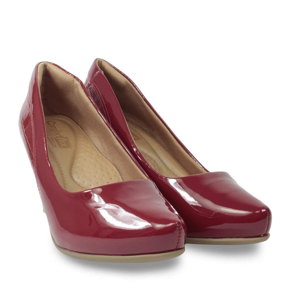 0b870aa87c Sapato Scarpin Comfortflex Feminino Croco Verniz  Amazon.com.br  Amazon Moda