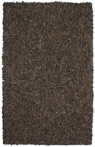 Dark Brown Leather Shag 4'x6' - Pelle Leather Brown Rug