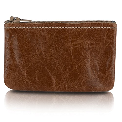 Zippered Coin Pouch For Men/Woman made with Genuine Leather, Coin Purse, Change Holder By Nabob (Distrassed Tan)