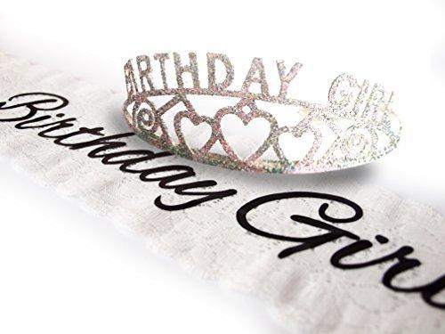 Elegant Birthday Girl Lace Sash and Glitter Tiara by Express Novelties Online