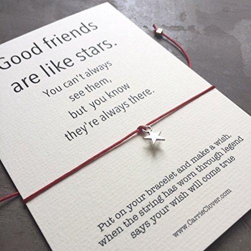 Friendship Bracelet String, Silver Star Bracelet, Wish Bracelet, Inspirational Quote Card, Best Friend Bracelet, BFF Bracelet, Quote Cards, String Bra…