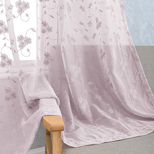 Embroidery Semi Sheer Curtains for Bedroom 2 Panels Rod Pocket Violet Vintage Floral Embroidered Voile Curtain Panels for Living Room 63 inch Length Lilac Window Treatment Set, Purple
