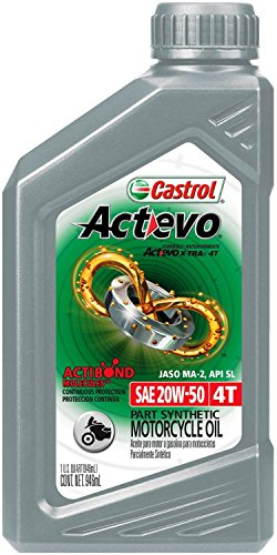 Castrol 06139 Actevo 20W-50 Part Synthetic 4T Motorcycle Oil - 1 Quart Bottle, (Pack of 6)