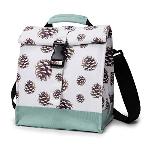 Kids Back to School Insulated Lunch Bag Lunch Box Organizer for Boys, Girls - Fashionable & Spacious Meal Tote Large Drinks Holder for Students and Teens By Sunny Bird (Pinecone)