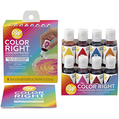 - Wilton Color Right Performance Food Coloring Set, Achieve Consistent Colors for Icing, Fondant and Cake Batter, 8-Base Colors