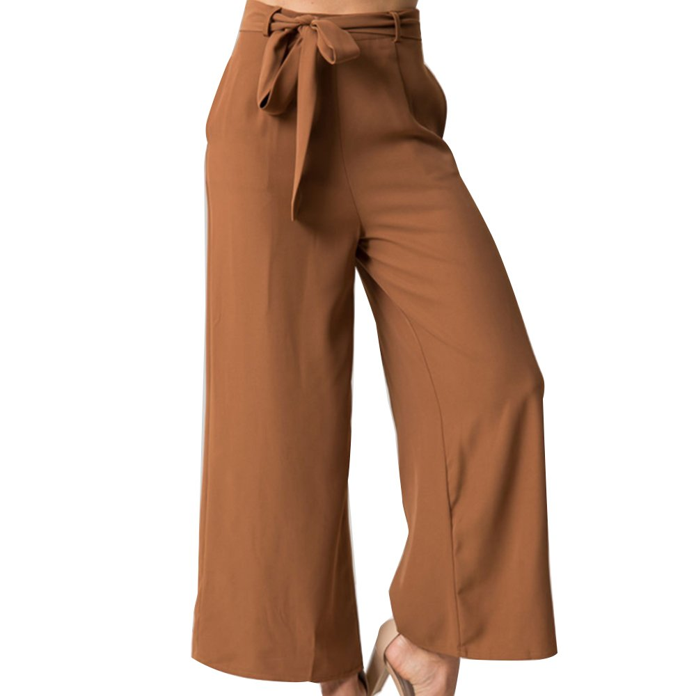 Women\'s Vintage Casual Loose Culottes High Waisted Wide Leg Belted Palazzo Pants Brown S