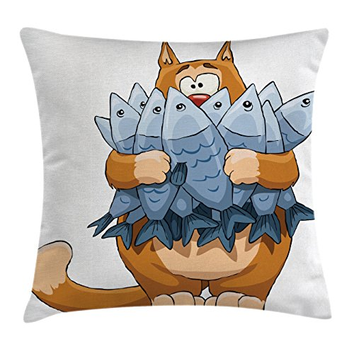 Cat Throw Pillow Cushion Cover by Ambesonne, Fat Cat Holding Bunch of Dead Fish Hungry Starving But Not Enough Cartoon Print, Decorative Square Accent Pillow Case, 18 X18 Inches, Blue Cream (Fat Cat Contemporary Throw)