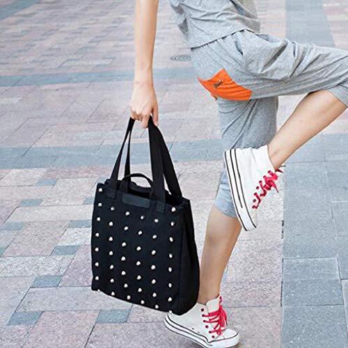 Playa moda Shopper Con Mano Quicklyly Bolso Hombro Grande Mujer Lienzo handle Tote Casual De Top Remache Lona negro Cremallera Bolsa p47qAwB