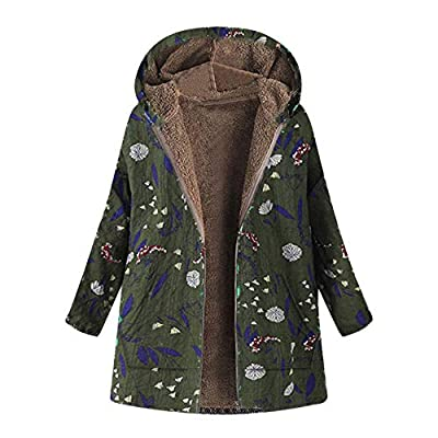 NREALY Jacket Women's Winter Warm Outwear Floral Print Hooded Pockets Vintage Oversize Coats