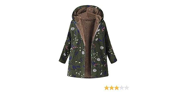Damark(TM) Abrigo de Invierno Capucha para Mujer, Estampado Floral con Capucha Cremallera Chaquetas Deportivas Blusa Tops Sueter
