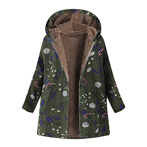 - Forthery Women Coats Winter Clearance Hooded Warm Thick Outwear Jacket with Faux Fur(Army Green, Large)