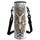 iPrint Water Bottle Sleeve Neoprene Bottle Cover,Antler Decor,Hunters Dry Earth Emblem Scary Deer Skull Fallen Leaves Drought Decorative,Earth Yellow White Black,Fit for Most of Water Bottles