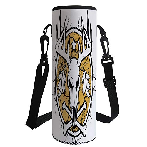 iPrint Water Bottle Sleeve Neoprene Bottle Cover,Antler Decor,Hunters Dry Earth Emblem Scary Deer Skull Fallen Leaves Drought Decorative,Earth Yellow White Black,Fit for Most of Water Bottles by iPrint