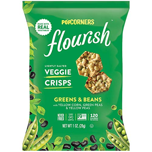 (Popcorners Flourish Greens & Beans Veggie Crisps | Plant-Based Protein, Gluten Free Snacks | (24 Pack, 1 oz Snack Bags))
