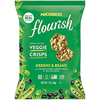 Popcorners Flourish Greens & Beans Veggie Crisps | Plant-Based Protein, Gluten Free Snacks | (24 Pack, 1 oz Snack Bags)