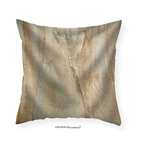 VROSELV Custom Cotton Linen Pillowcase Texture Background of a Flat Yellow and Gray Slate Rock Tile - Fabric Home Decor (Indian Autumn Slate Tile)