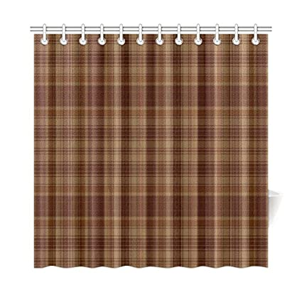 Scottish Tartan Plaid Pattern Waterproof Bathroom Decor Fabric Shower Curtain Polyester 72 X Inches