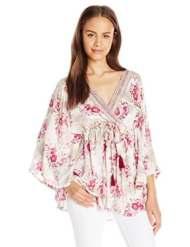 Angie Women's Wide Sleeve Printed Top, Ivory, Large