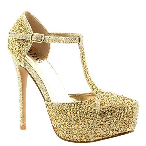 Womens Wedding Stiletto Heels Crystals T-Strap Platform Bridal High Heel - Gold - US9/EU40 - KL0010CC