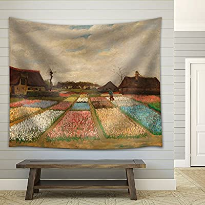 Flower Beds in Holland (or Bulb Fields) by Vincent Van Gogh - Fabric Tapestry, Home Decor - 68x80 inches