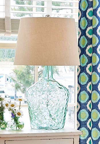 Aqua Teal Table Lamp - Jug Shape with Dimpled Glass Base and Linen Style Shade