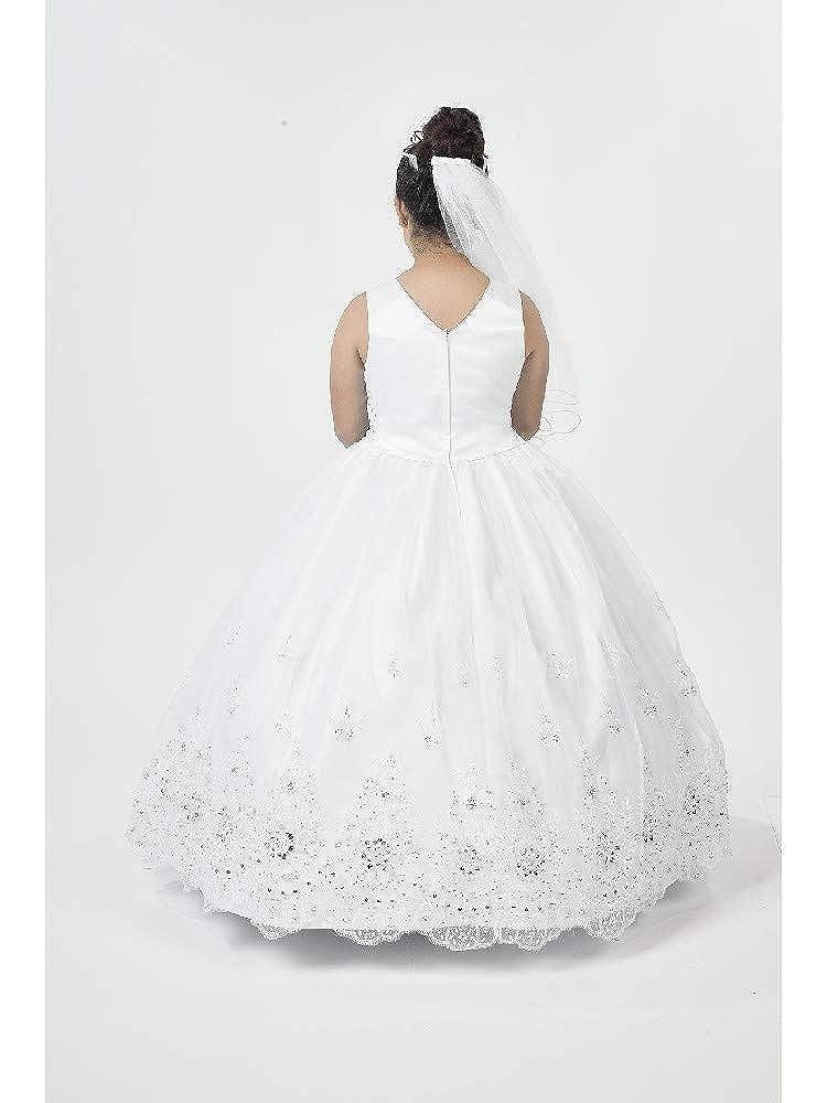 Alegria Kids Big Girls White V Neckline Embroidered Organza Bolero Communion Dress 20