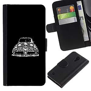 Paccase / Billetera de Cuero Caso del tirón Titular de la tarjeta Carcasa Funda para - Retro Car Vintage Muscle Black Skull - Samsung Galaxy S4 IV I9500