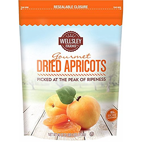 Wellsley Farm Dried Apricots 1 Bag (40 Oz) (pack of 2) A1 by Wellsley Farms
