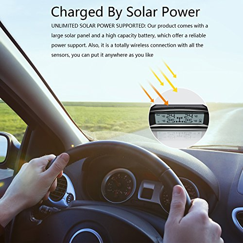 TYDO Solar Powered TPMS Wireless Tire Pressure Monitoring System 4 Sensors DIY Tire Gauge With Auto Alarm System Real-time Displays for RV Trailer, External Sensor by TYDO (Image #5)