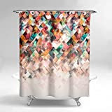 Lume.ly - Modern Ombre Geometric Pattern Design Fabric Shower Curtain Set For Bathroom W/ 12 PREMIUM Stainless Steel Hooks Rings, Bright Unique Psychedelic Luxury Art Home (White Aqua Blue) (72x72)