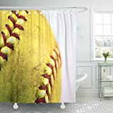 Emvency Fabric Shower Curtain Curtains with Hooks White American Yellow Softball Closeup with Red Seams Ball Baseball Detail Dirty Equipment Field Game 60''X72'' Waterproof Decorative Bathroom