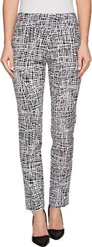 (Krazy Larry Women's Pull-On Ankle Pants Black/White Spiderweb 0)