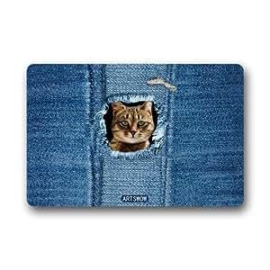 "ARTSWOW Cat Jean Popular Rectangle Shape Doormat Bathroom Living Room Hallway Bedroom Mats Carpet Rug with Non Slip Back 23.6""(L) X 15.7""(W)"