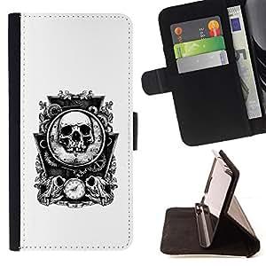 /Skull Market/ - BONES SKULL MIRROR WHITE TIME DEATH For Samsung Galaxy S3 Mini I8190Samsung Galaxy S3 Mini I8190 - Caja de la carpeta del tir???¡¯???€????€??&ce