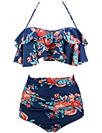 Women's Retro Boho Flounce Falbala High Waist Bikini Set...
