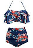 Cocoship Red Pink & Navy Blue Antigua Floral Retro Boho Flounce Falbala High Waist Bikini Set Chic Swimsuit Bathing Suit M(FBA)