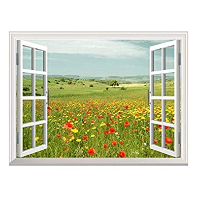 Removable Wall Sticker/Wall Mural - Beautiful Spring Field with Wild Flowers | Creative Window View Wall Decor - 36