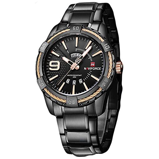 Naviforce Crisp Black Day & Date Luxury Men's Watch(NF9117)