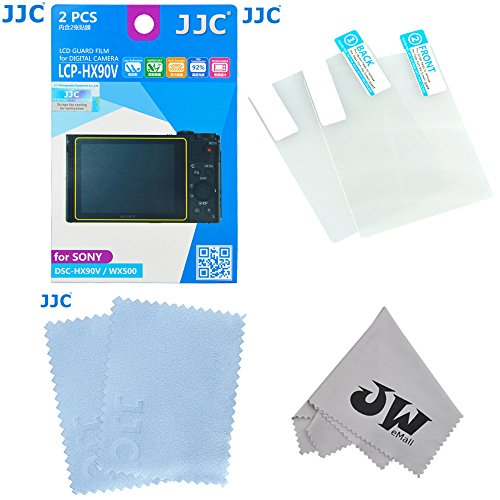 JW LCP-HX90V Low Reflection Anti-Smudge High Transmission Perfect Cutting LCD Guard Film Display Screen Protector for Sony DSC-HX90V WX500 Plus Emall Micro Fiber Cleaning Cloth, 2 Kits