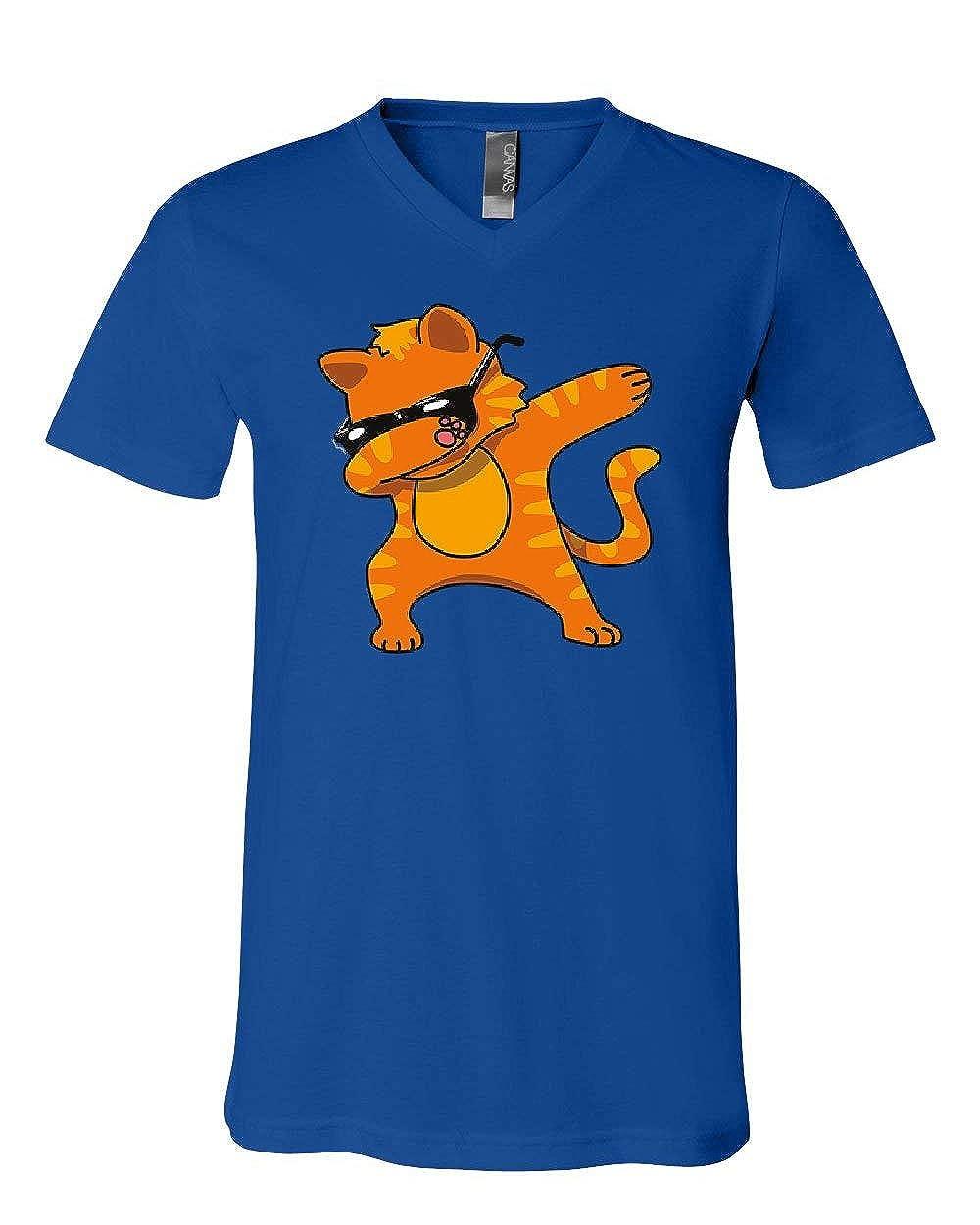 Cat in Glasses Dabbing V-Neck T-Shirt Dab Dance Move Kitten Pet Floss Tee