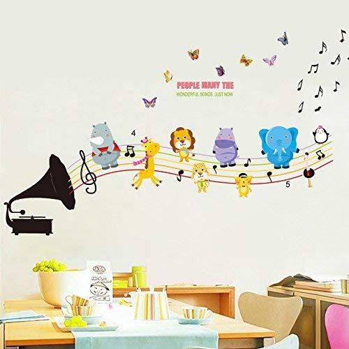HhGold L'é cole de Musique d'arriè re-Plan de la pé piniè re de dé calques muraux cré atifs enseignement des Murs avec des Autocollants pour Animaux Auto-adhé sifs, des Notes d'animaux sont conservé s