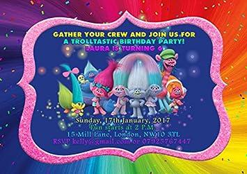 10 x trolls personalised children birthday party invitations or 10 x trolls personalised children birthday party invitations or thank you cards gold envelopes stopboris Gallery