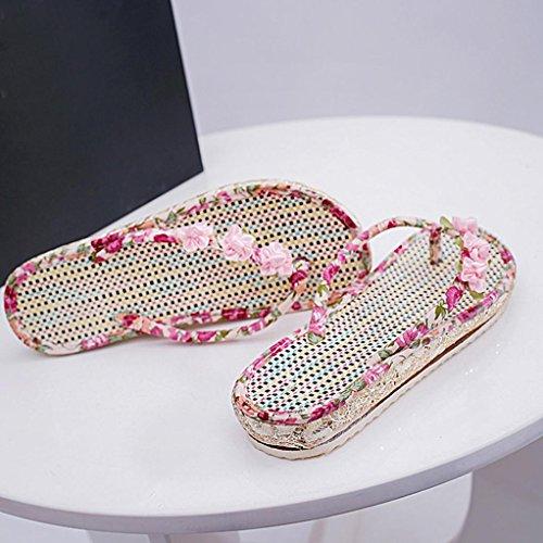 DEESEE(TM) Womens Summer Sandals Shoes Peep-toe Low Shoes Roman Sandals Ladies Flip Flops Pink MyzDHOl1VQ