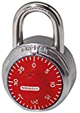 Master Lock Padlock, Standard Dial Combination Lock, 1-7/8 in. Wide, Red, 1504D